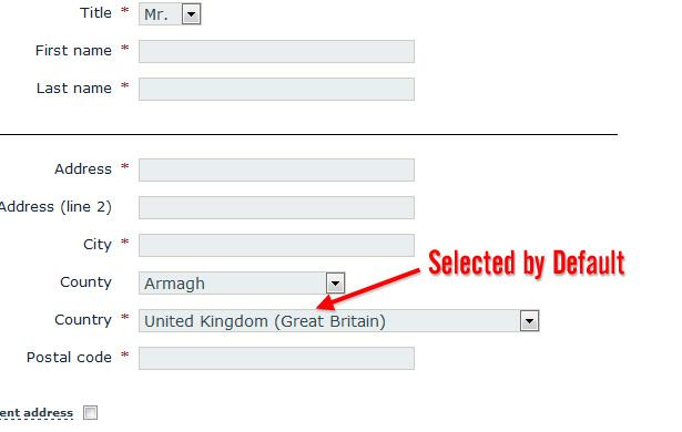Norht Rock Gallery's default country option