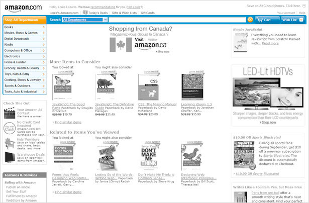Amazon Home Page with Search and Navigation Emphasized
