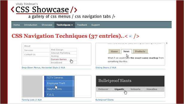 250 resources to help you become a css expert webdesigner depot css navigation techniques a collection of 37 different navigation designs using css malvernweather Images