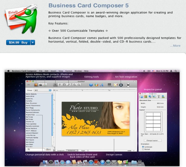 30 design apps on the mac app store webdesigner depot business card composer 5 reheart Gallery