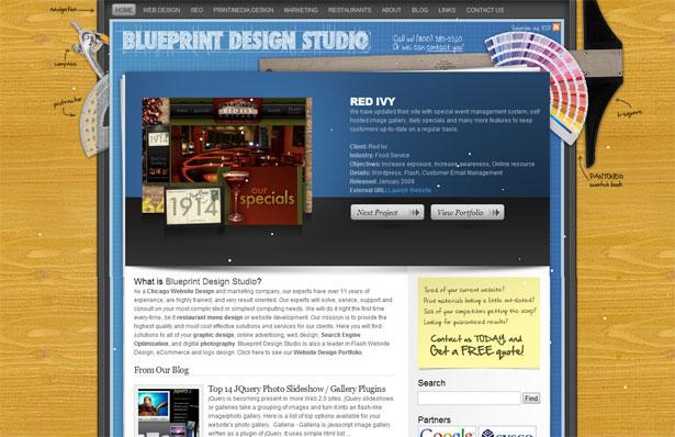 30 desktop and office themed website designs webdesigner depot blueprint ads malvernweather Gallery
