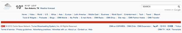 screenshot of CNN's footer