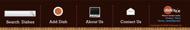 screenshot of dishizzle's footer