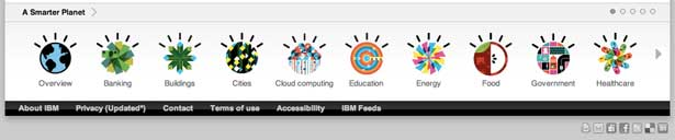 screenshot of the ibm's smarter planet footer