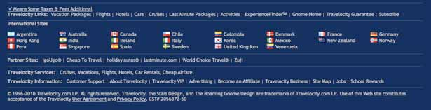 screenshot travelocity's footer