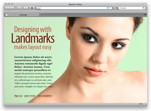 page layout with text, photo and headline