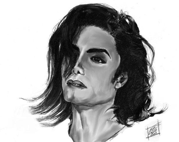 майкл джексон черно белый рисунок воспитывали