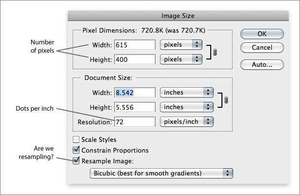 Photo S Image Size Dialog Box With Resampling On