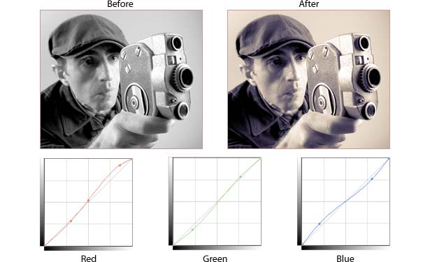 example of using Curves to tint a photo