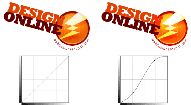 example of a logo with more contrast via Curves