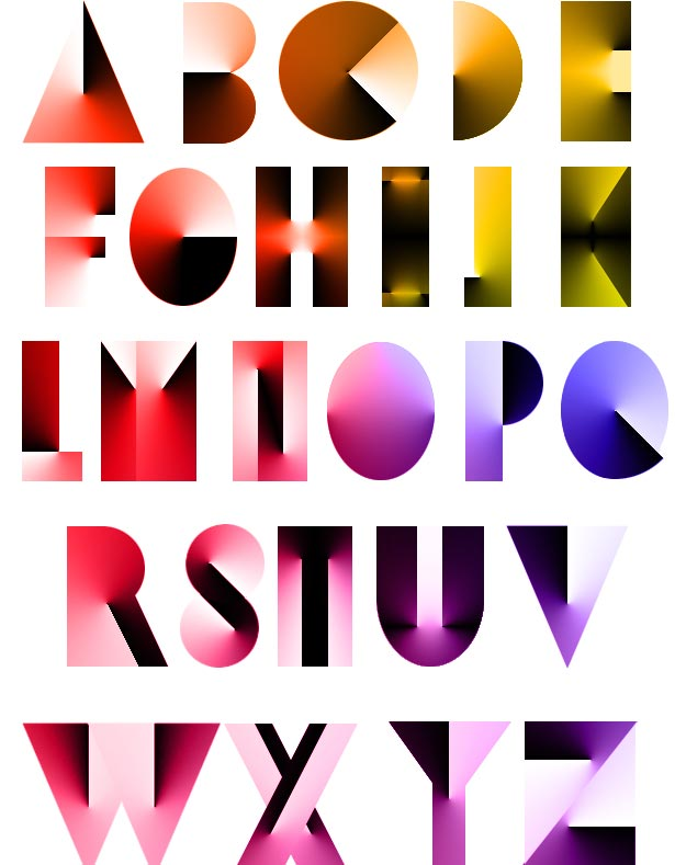 the alphabet created with shapes and angle gradients