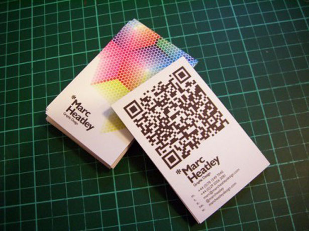 30 creative qr code business cards webdesigner depot marc used a lot of space for the qr code on these business cards but it macthes the design and font perfectly to great effect reheart Images