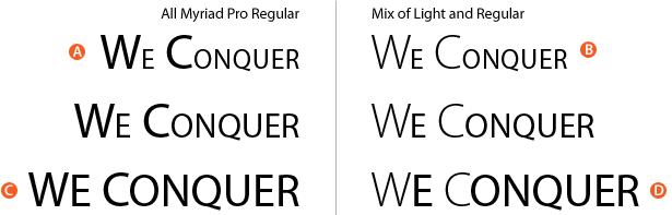 combinations of regular and light myriad pro