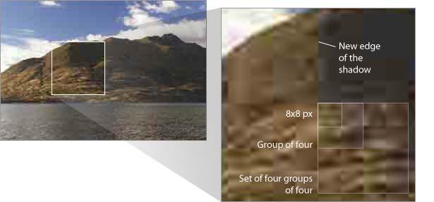 illustration of JPG artifacts mucking up a decent landscape photo