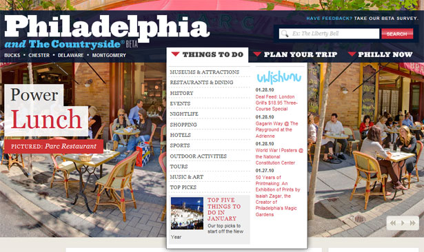 visitphilly.com drop-down menus
