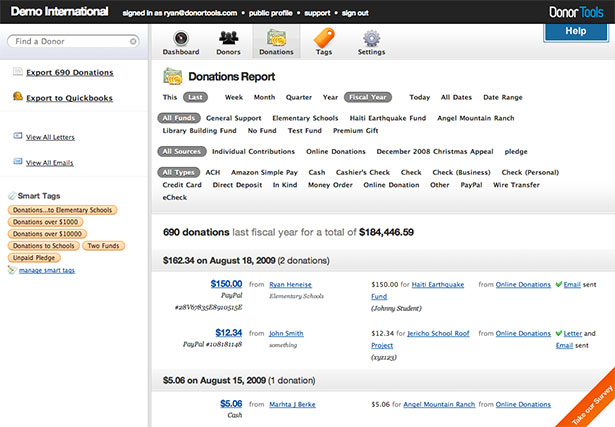 Donor Tools App Interface