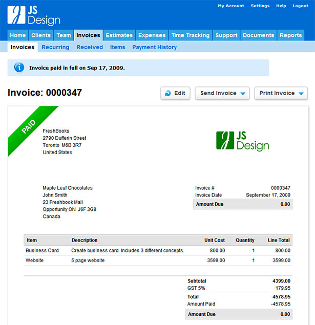 Freshbooks App Interface
