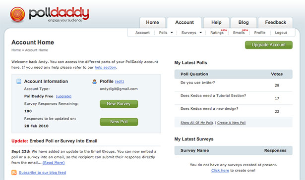 PollDaddy App Interface