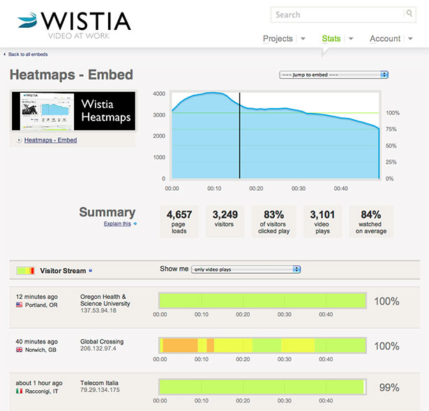 Wistia App Interface