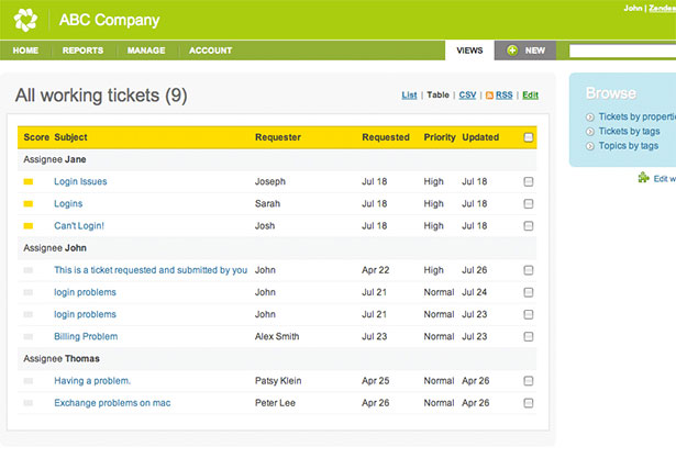 ZenDesk App Interface
