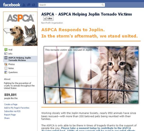 ASPCA's Joplin Tornado Facebook Campaign