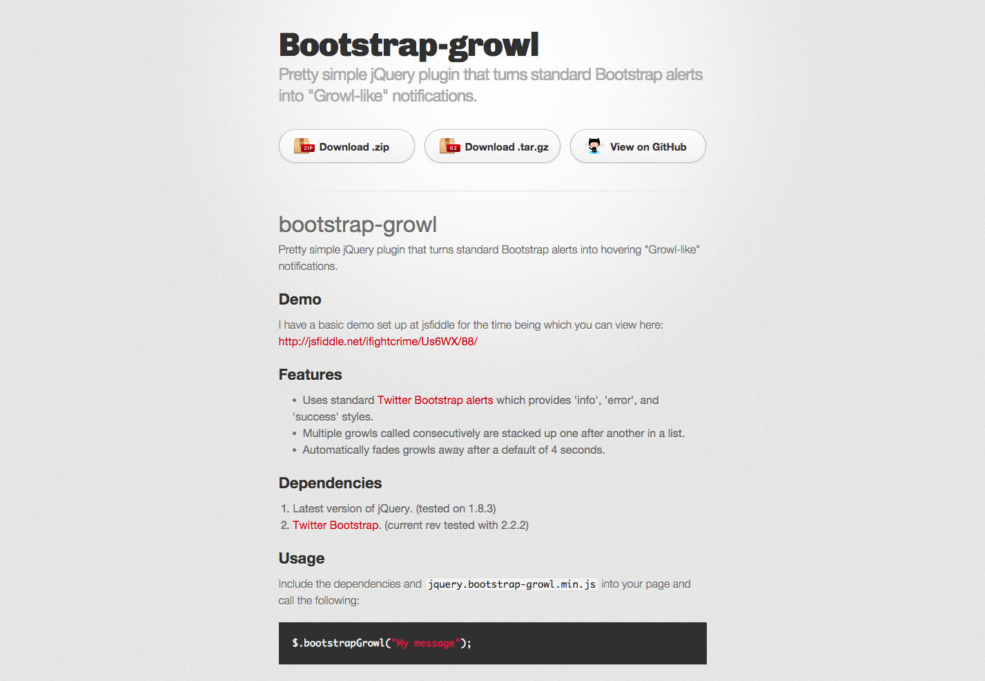 bootstrap growl