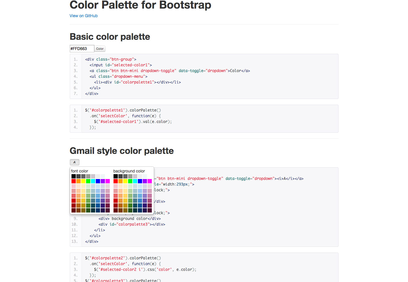 color palette for bootstrap
