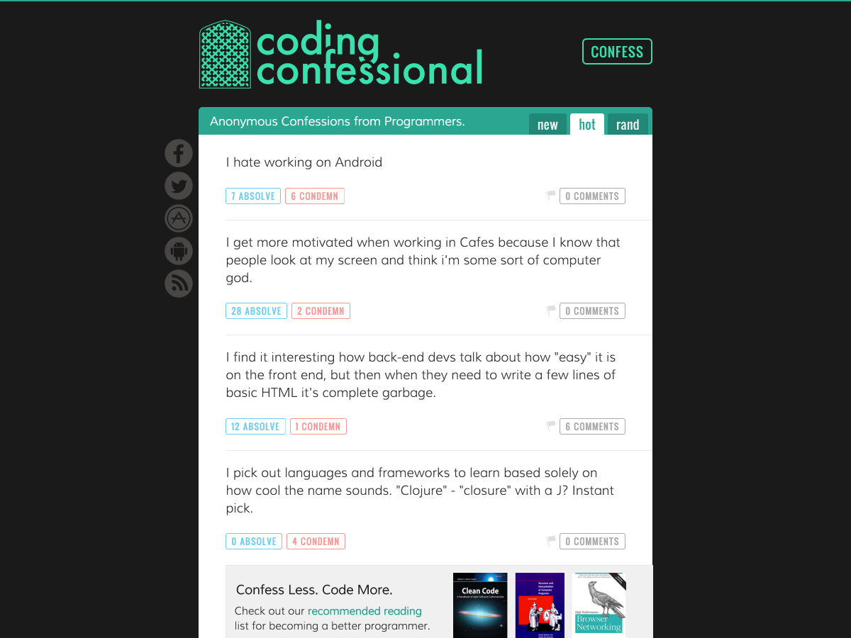 coding confessional