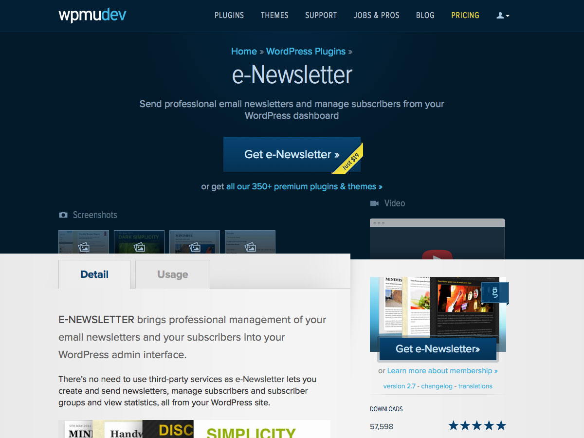 e-Newsletter WordPress plugin