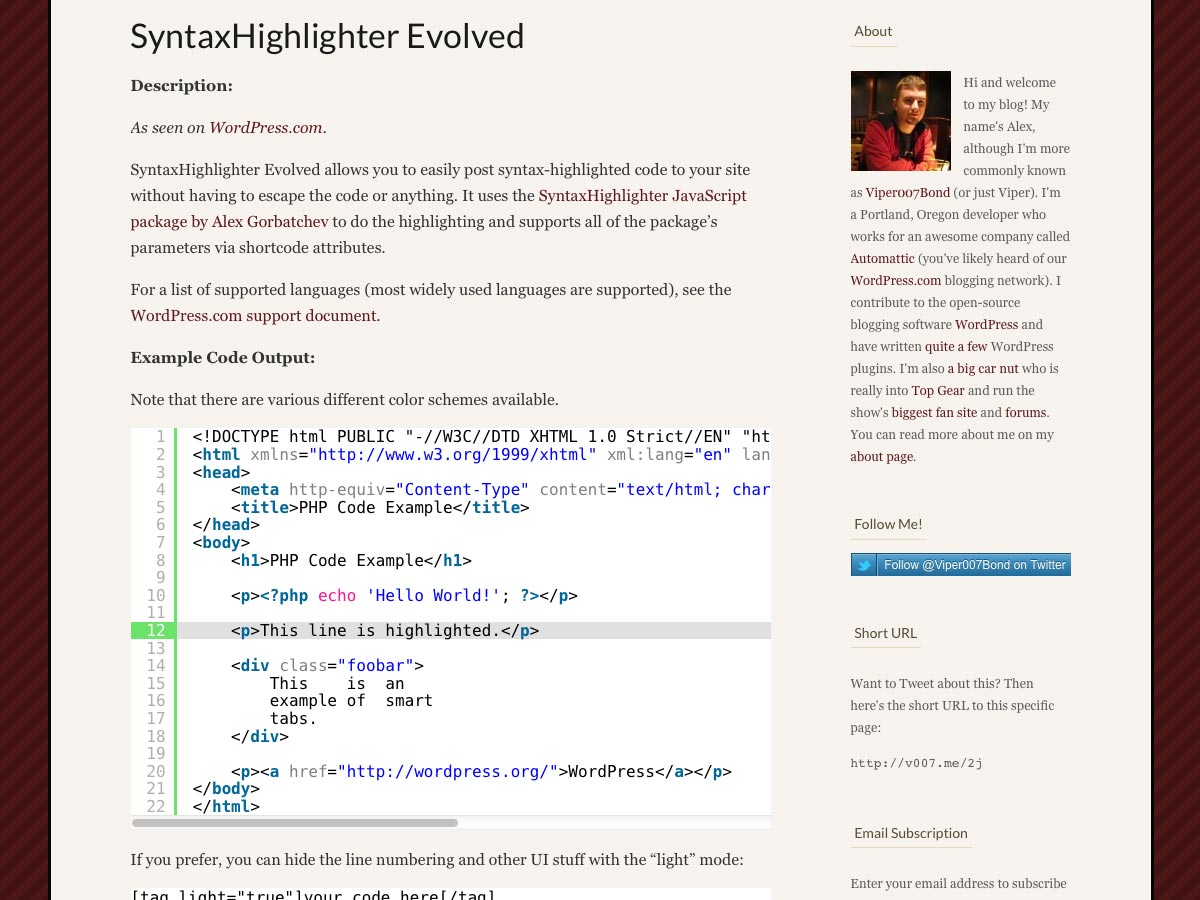 syntaxhighlighter evolved