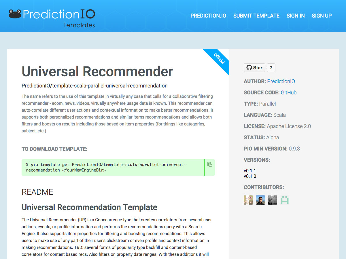 universal recommender