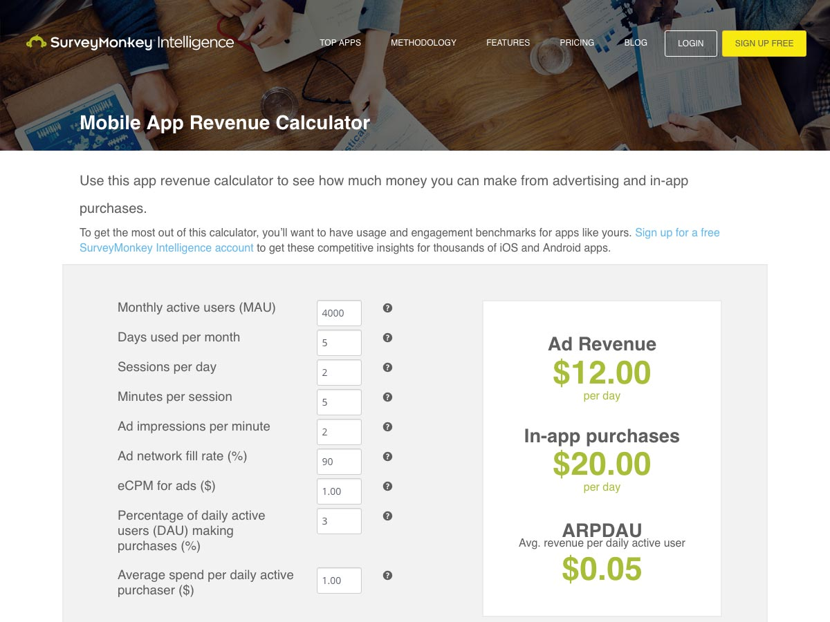 mobile app revenue calculator
