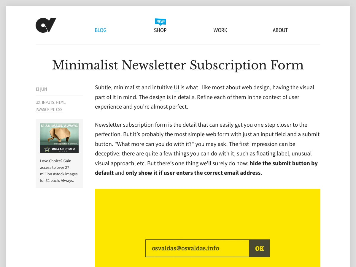 minimalist subscription form