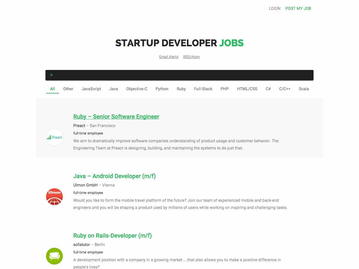 startup developer jobs