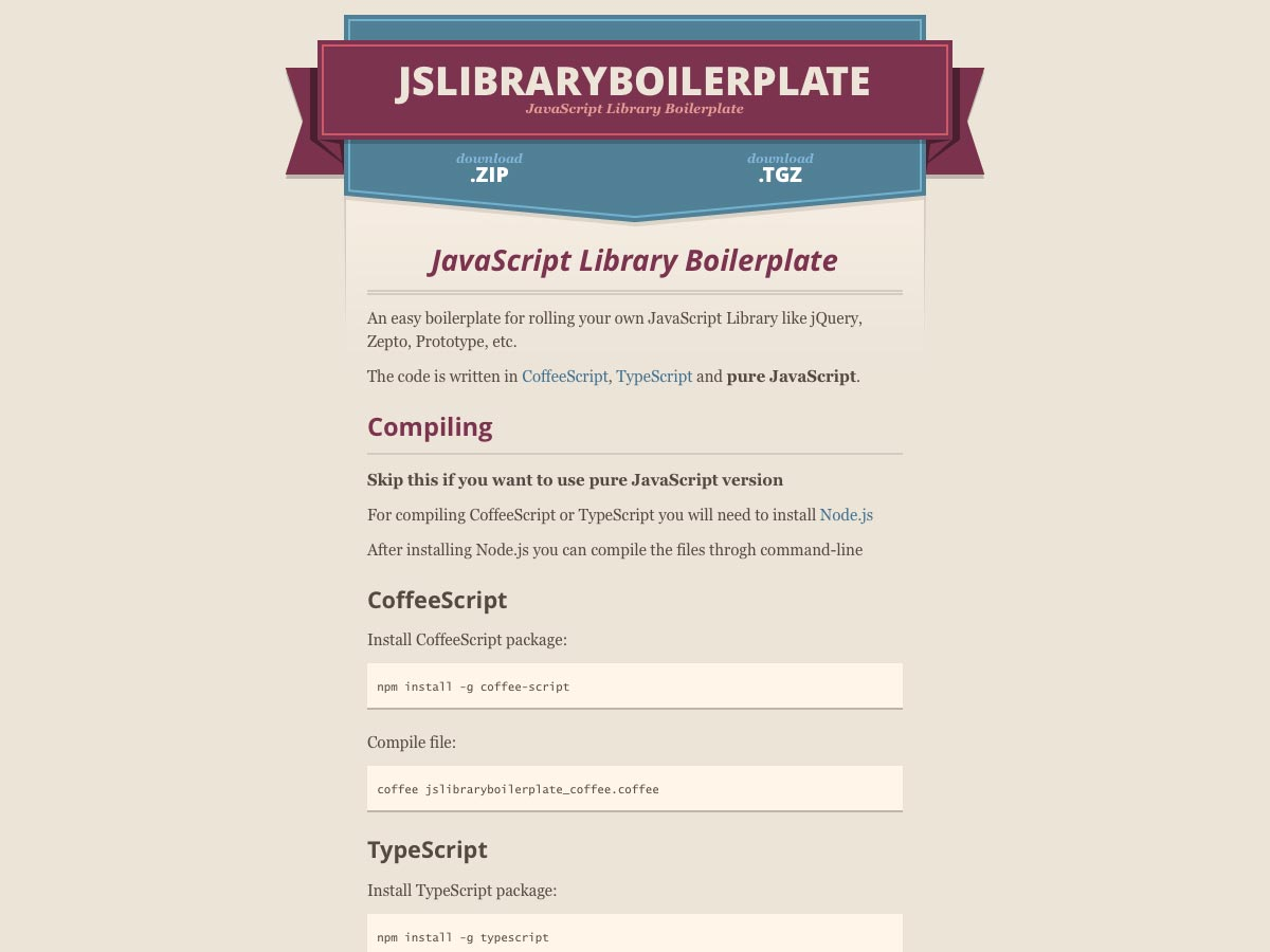 js library boilerplate