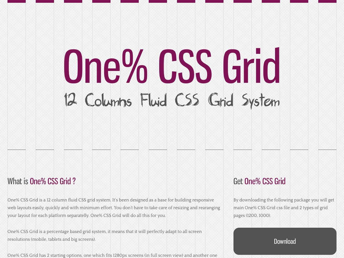 one percent css grid