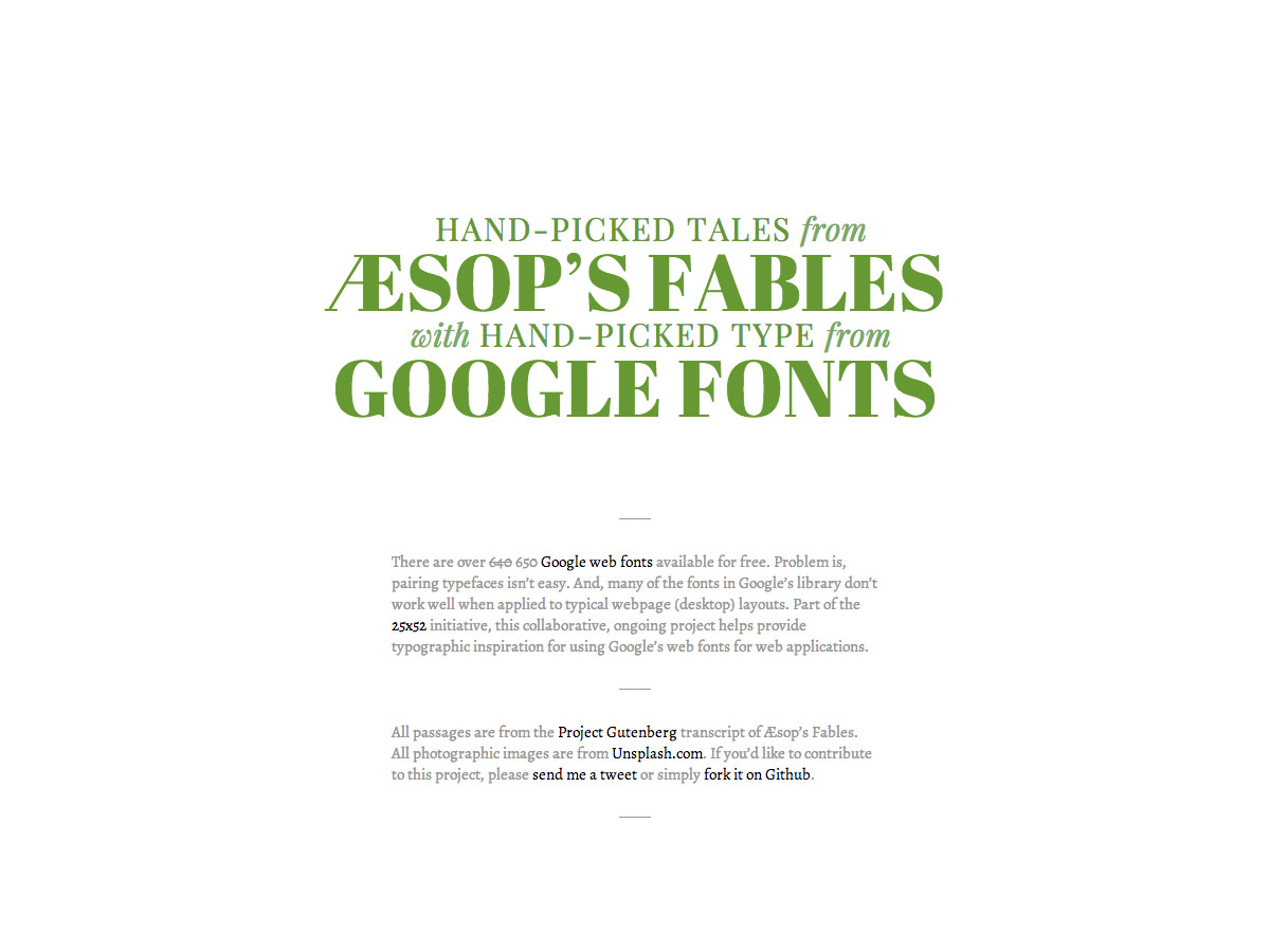 aesops fables with google fonts