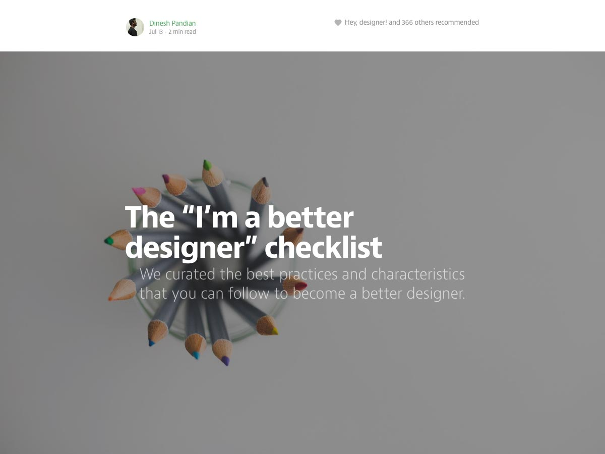 "The ""I'm a better designer"" checklist"